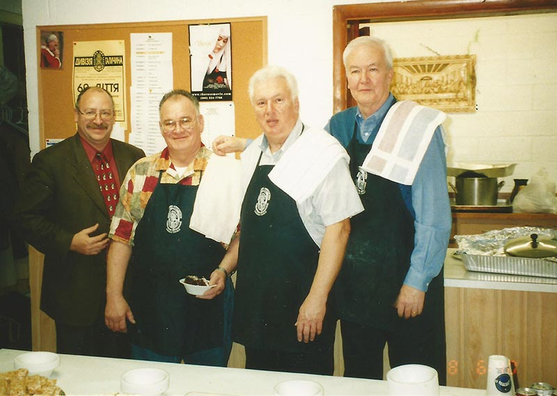 Brotherhood members on the kitchen in Immaculate Conception Ukrainian Catholic Church in Palatine, Illinois