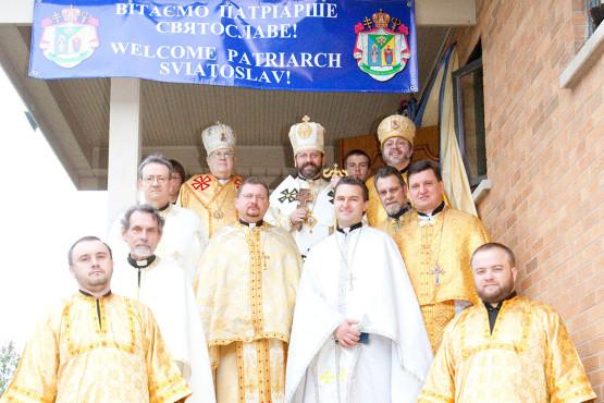 Priest in Immaculate Conception Ukrainian Catholic Church during Patriarch Sviatoslav Shevchuk visit