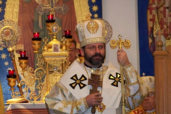 Solemn of Patriarch Sviatoslav during Divine Liturgy in Immaculate Conception Ukrainian Greek Catholic Church in Palatine