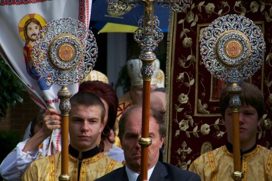 Procession during Patriarch Sviatoslav Shevchuk visit to Immaculate Conception Church in Palatine