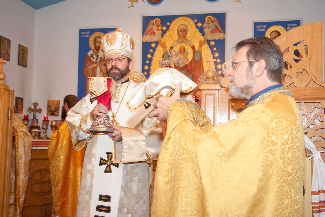 Patriarch Sviatoslav during Divine Liturgy at Immaculate Conception Ukrainian Greek Catholic Byzantine Church in Palatine | Patriarch of UGCC