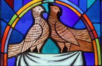 Peaceful doves - window ornaments at Immaculate Conception