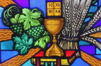 Eucharist bowl, fruits, wheat, and Bible - window ornaments in Immaculate Conception Church