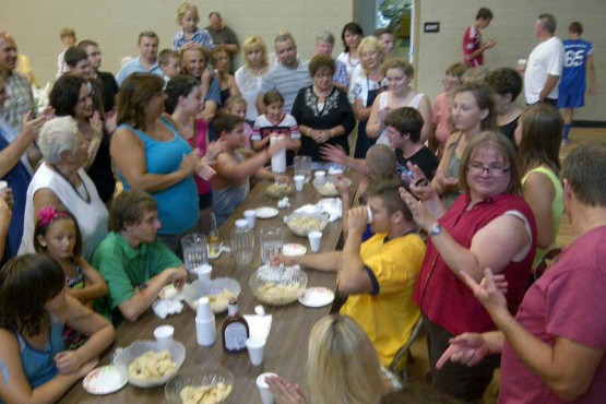 Picnic pyrohy eating contest at Ukrainian Immaculate Conception Catholic Church in Palatine