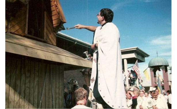 bell tower blessing at Immaculate Conception Catholic Church